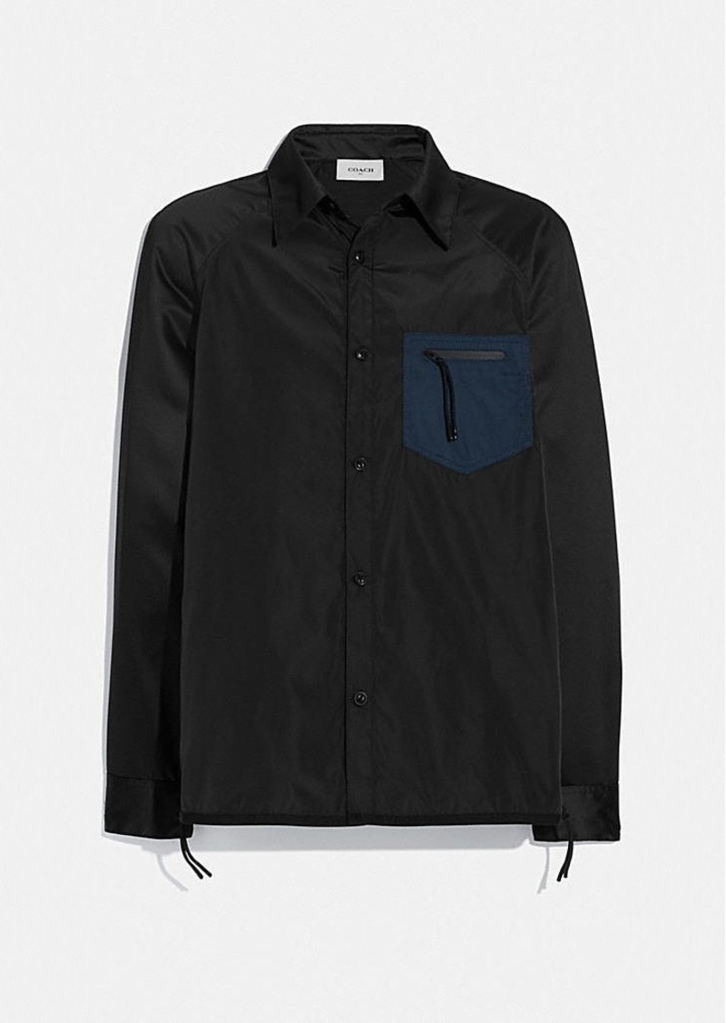 Coach colorblock satin shirt