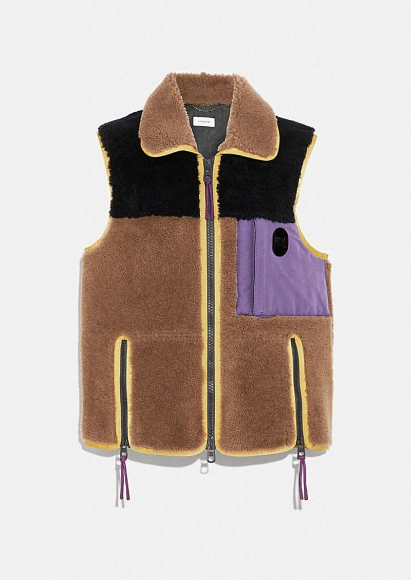 Coach colorblock shearling vest
