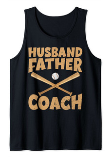 Cool Fathers Day Shirt Husband Father Baseball Coach Design Tank Top