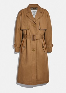 Coach cotton trench with leather trim