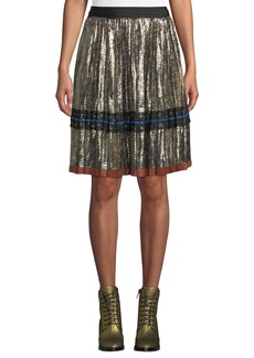 Coach Daisy-Print Pleated Metallic Midi Skirt