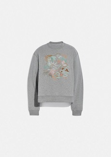 Coach doodle embroidered sweatshirt in organic cotton