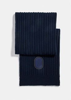 Coach double signature retro patch knit scarf
