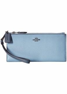 Coach Double Zip Wallet in Color Block Leather
