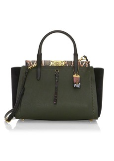 Coach Dreamer Snakeskin-Trim Leather Satchel