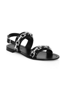 Coach Eden Chain Flat Leather Sandals