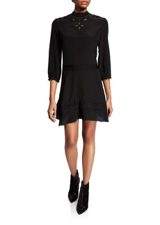 Coach Embellished Asymmetrical Ruffle Silk Dress