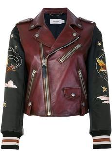 Coach embroidered souvenir biker jacket