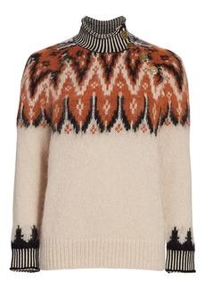 Coach Fairisle Boho Print Stripe-Trim Turtleneck Sweater