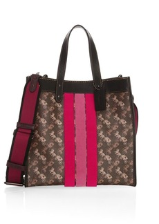 Coach Field Stripe Canvas & Leather Tote