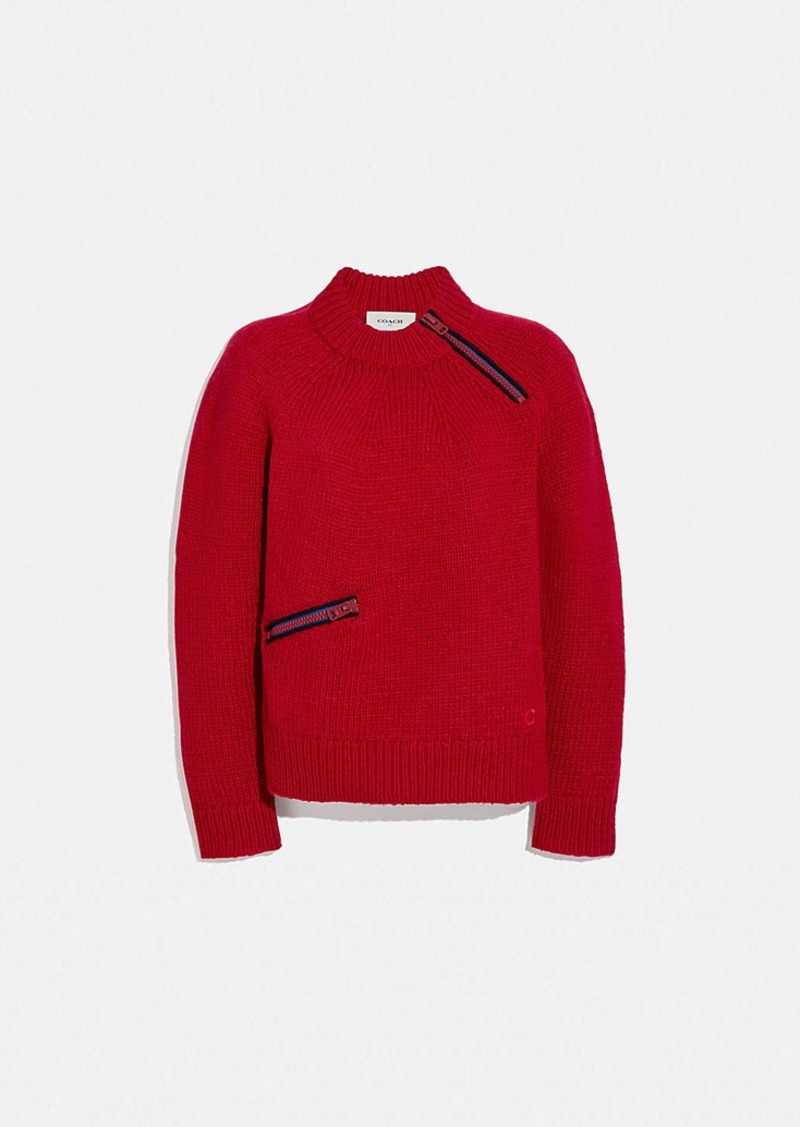 Coach fitted crewneck sweater with zips
