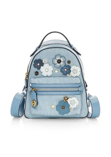 Coach Floral Appliqué Denim & Leather Backpack