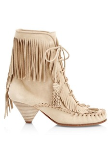 Coach Fringe Suede Moccasin Ankle Boots