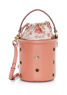 Coach Drawstring Grommet Leather Bucket Bag