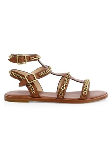 Coach Haddie Chains Leather Gladiator Sandals
