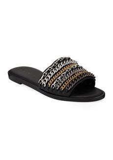 Coach Hayden Leather Chains Flat Slide Sandals