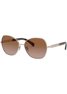Coach HC7112 56 mm Cat Eye Metal Sunglasses