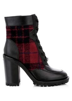 Coach Hedy Plaid & Leather Combat Boots