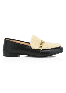 Coach Helena C-Chain Shearling-Trimmed Leather Loafers
