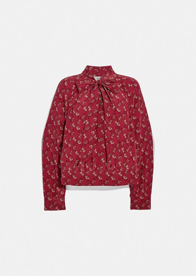 Coach horse and carriage print tie neck blouse