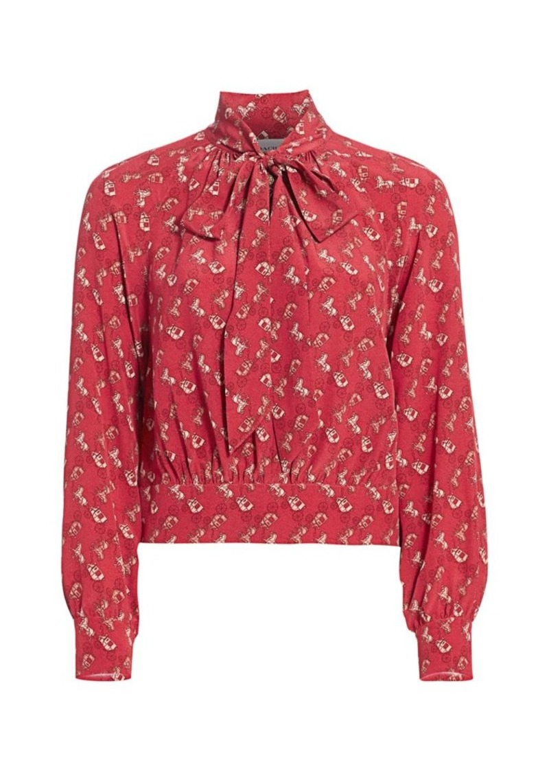 Coach Horse And Carriage Tie-Neck Blouse