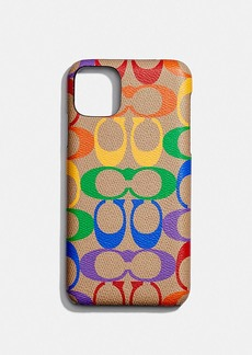 Coach iphone 11 pro max case in rainbow signature canvas