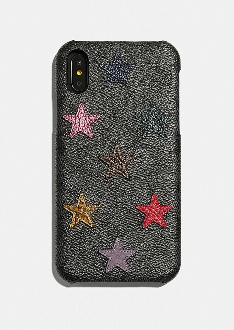 Coach iphone xr case in signature canvas with star...