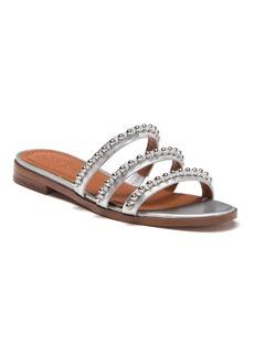 Coach Isa Studded Metallic Leather Slide Sandal