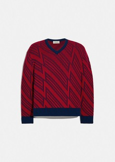 Coach jacquard v-neck sweater