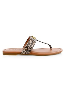 Coach Jessie Snake-Embossed Flat Thong Sandals