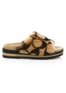 Coach Khloe Printed Shearling Slide Sandals