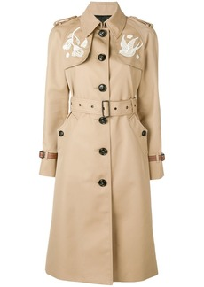 Coach lace embroidered trench coat