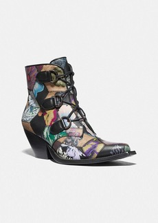 Coach lace up chain bootie with kaffe fassett print