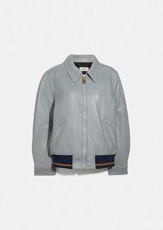 Coach leather blouson jacket with rib