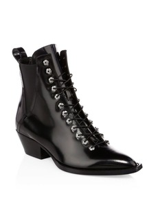 Coach Leather Lace-Up Ankle Boots