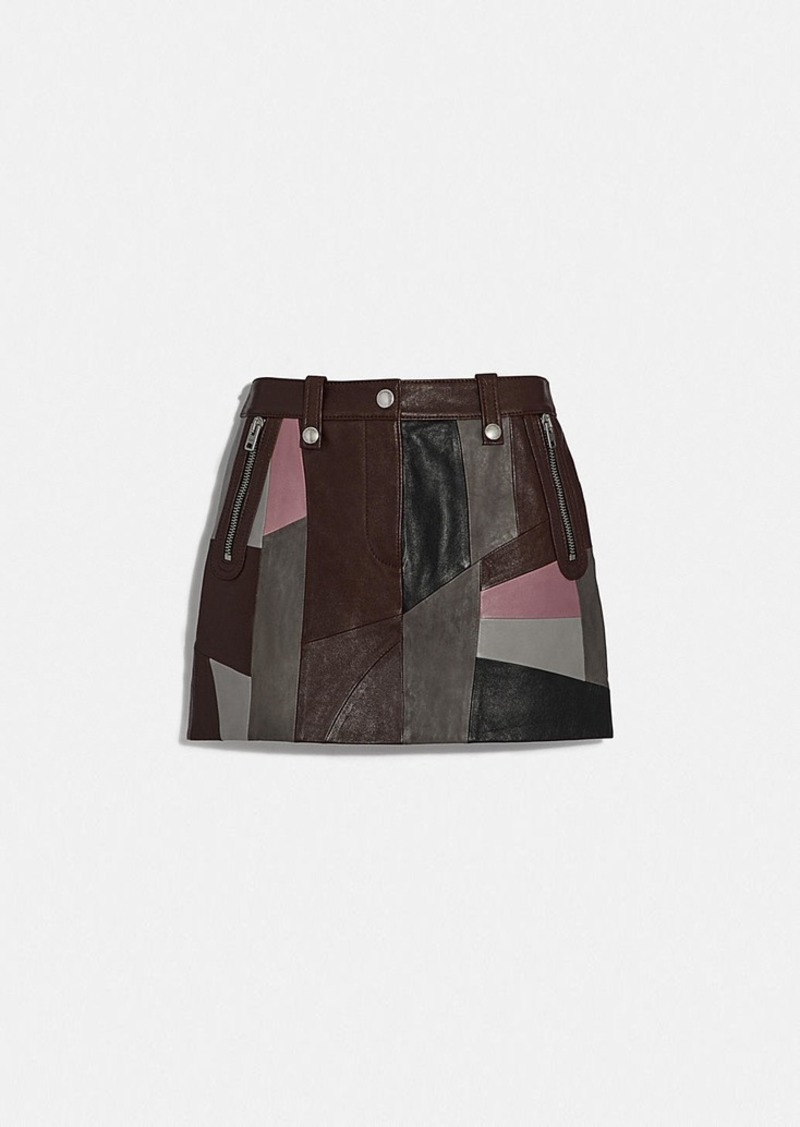 Coach leather patchwork mini skirt