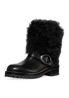Coach Leighton Shearling-Cuff Leather Buckle Boots