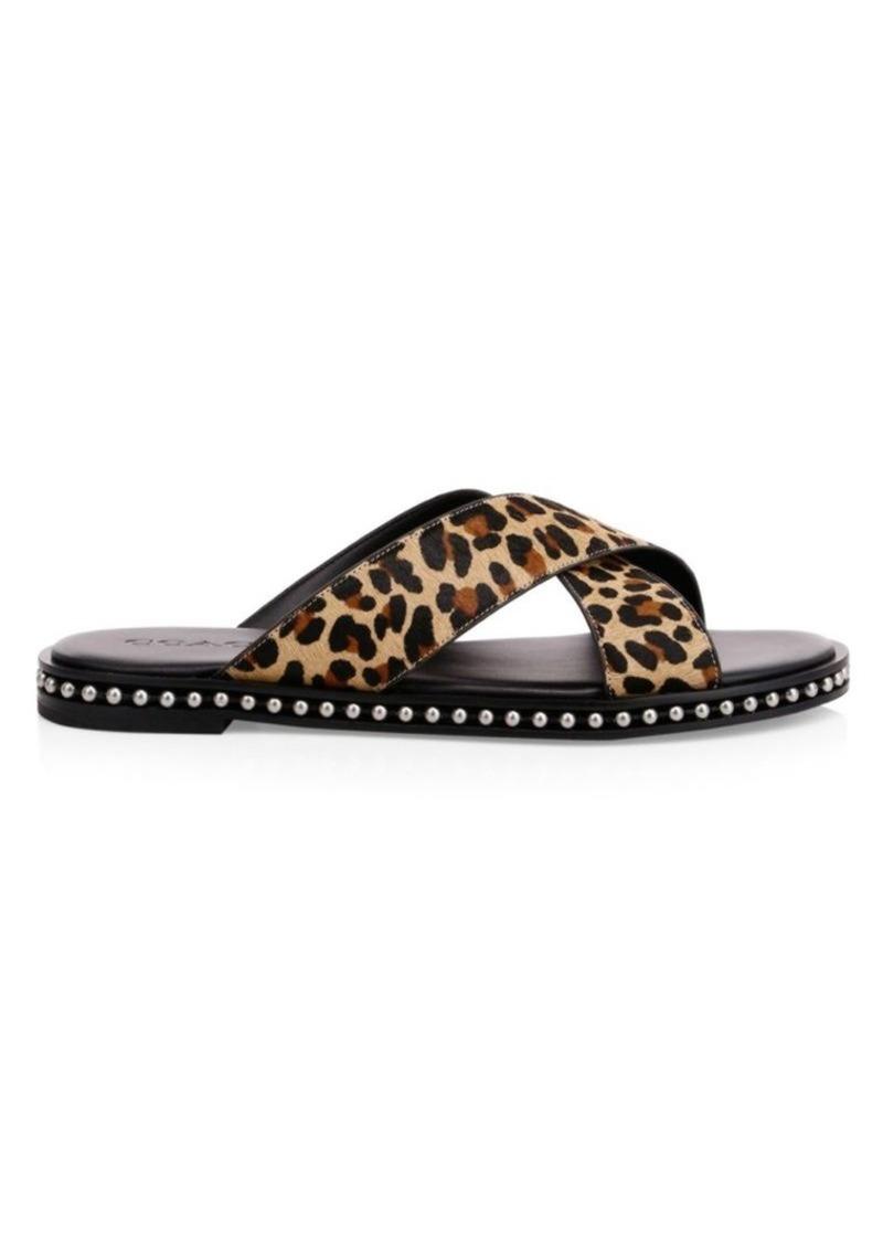 Coach Leopard-Print Calf Hair Flat Sandals