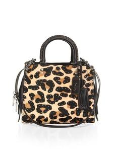 Coach Leopard Print Leather & Calf Hair Satchel
