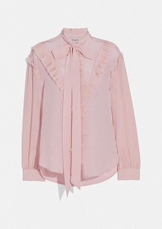 Coach long sleeve glam rock prairie top with ruffles