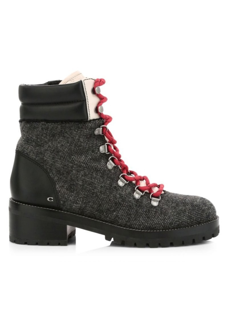 Coach Lorren Leather-Trimmed Wool Hiking Boots