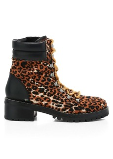Coach Lorren Leather-Trimmed Leopard-Print Tweed Hiking Boots