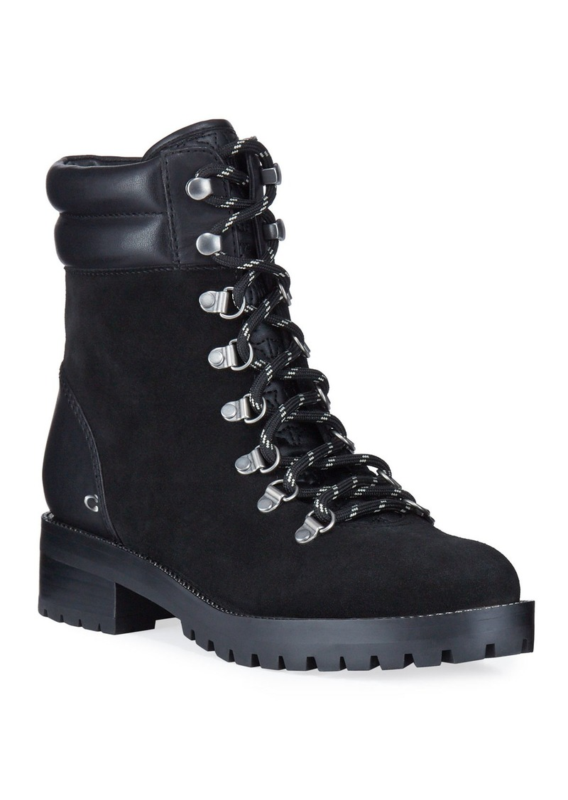 Coach Lorren Mixed Leather Combat Boots
