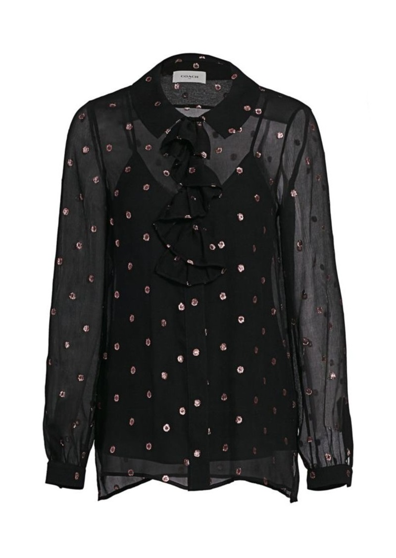 Coach Lurex Dot Pussybow Blouse