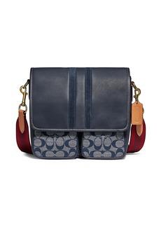 Coach Map Colorblock Leather, Suede & Signature Canvas Crossbody Bag