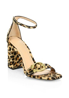 Coach Maya Leopard Print Calf Hair Ankle-Strap Sandals