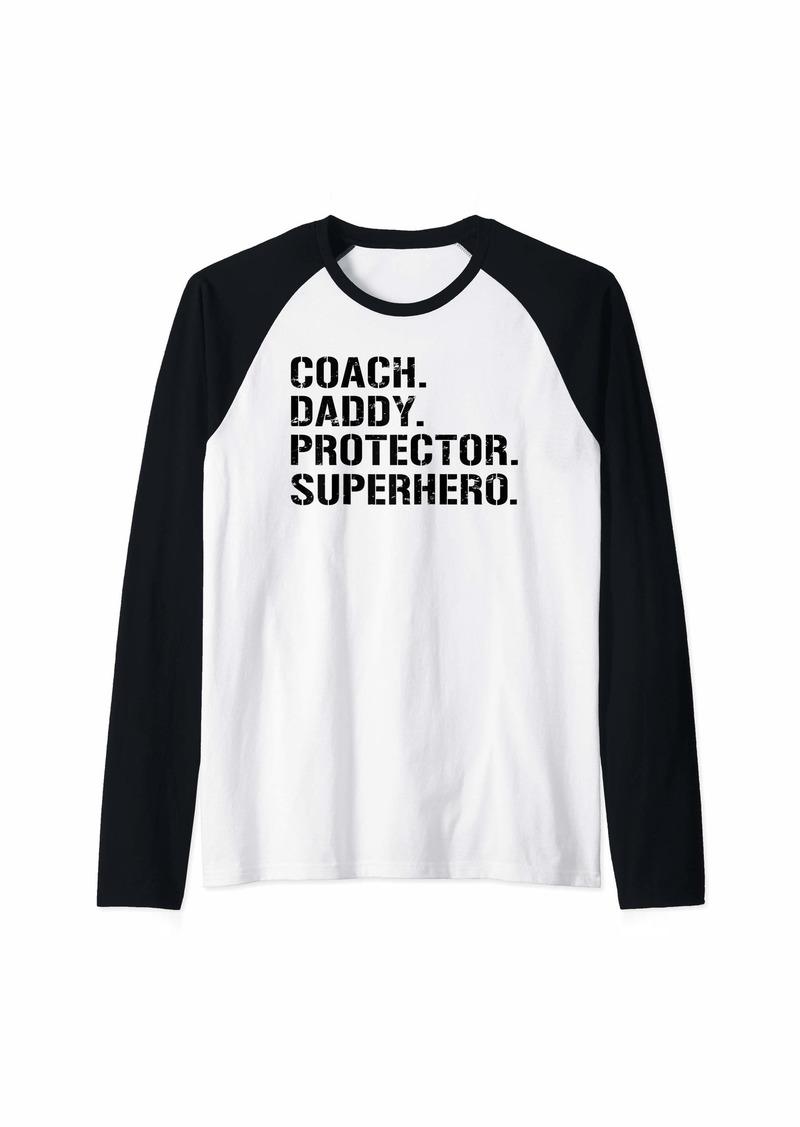 Mens Fathers Day Gift Coach Daddy Protector Superhero Raglan Baseball Tee