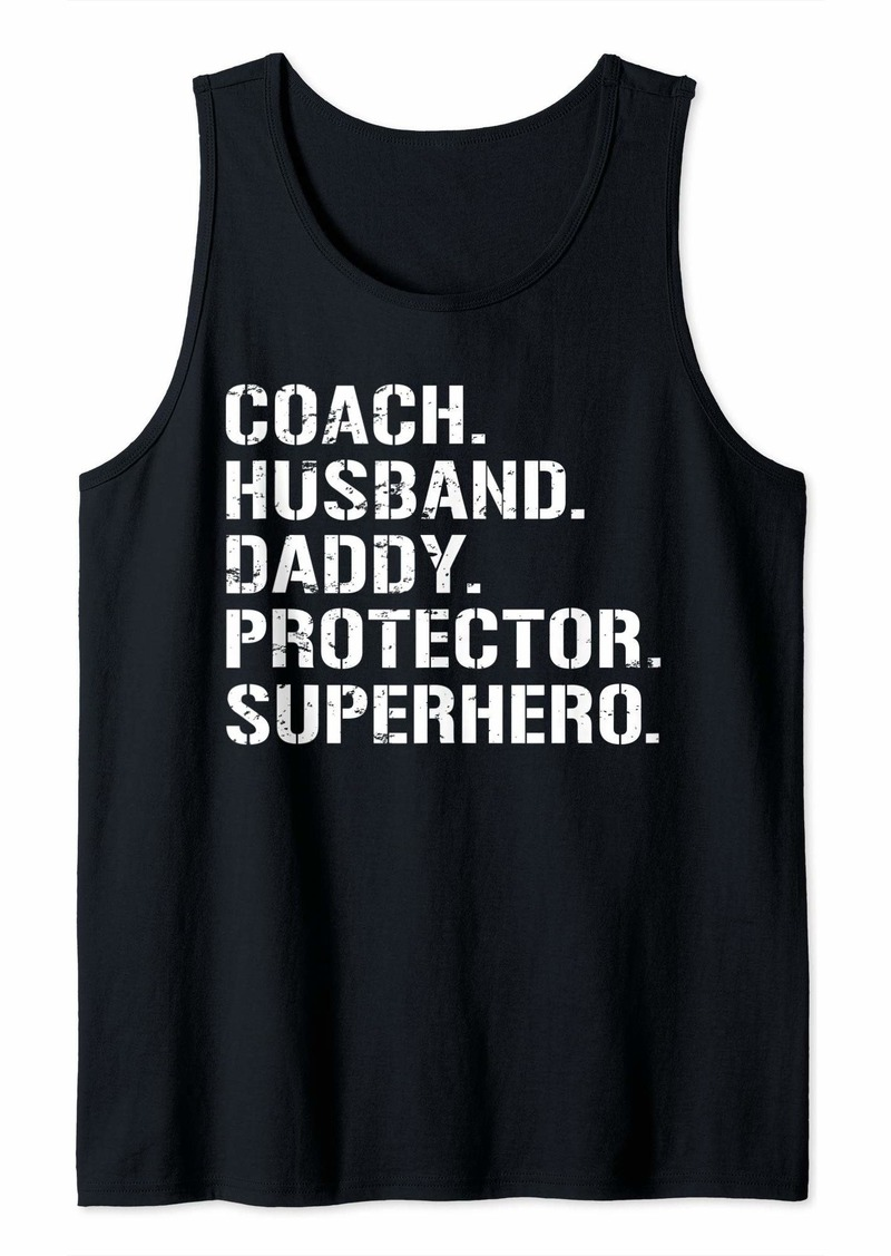 Mens Fathers Day Gift Coach Husband Daddy Protector Superhero Tank Top