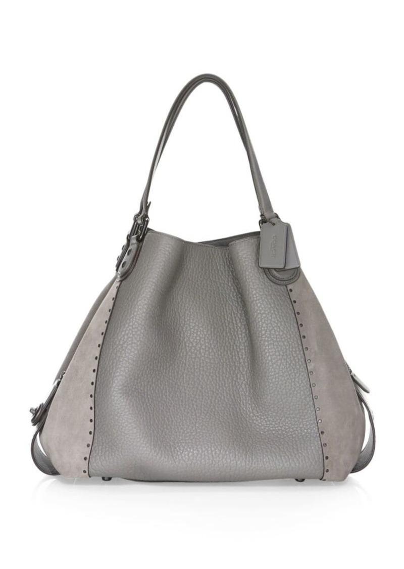 472a78c40b Coach Mixed Leather Border Rivet Hobo Bag