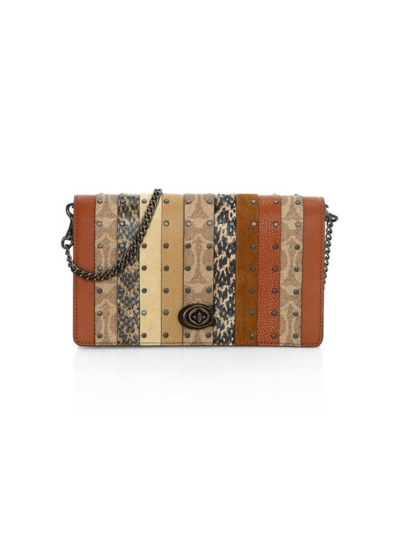 Coach Callie Patchwork Stripe Leather, Signature Coated Canvas & Snakeskin Clutch